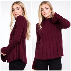 WINE WOOL BLEND RIBBED SWEATER